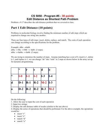 Part 1 Edit Distance (10 points) * r e d o * I-0 I-1 I-2 I-3 I-4 d D-1 R-1 ...