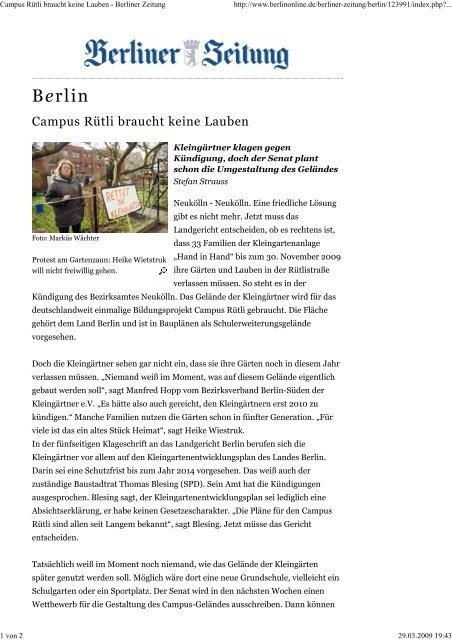 Campus Rütli Braucht Keine Lauben Berliner Hand In Hand