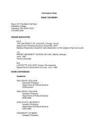 Curriculum Vitae NANCY SCHERER Room 231 ... - Wellesley College