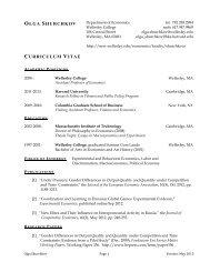OLGA SHURCHKOV CURRICULUM VITAE - Wellesley College