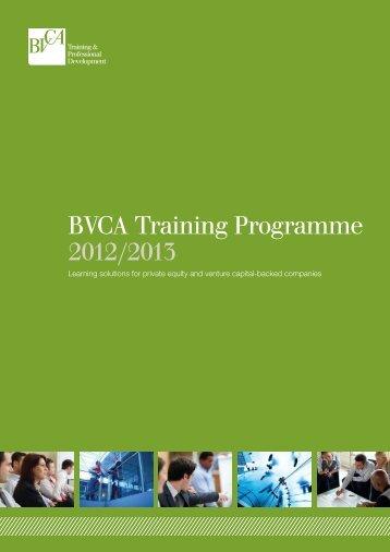 BVCA Training Programme 2012/2013 - BVCA admin