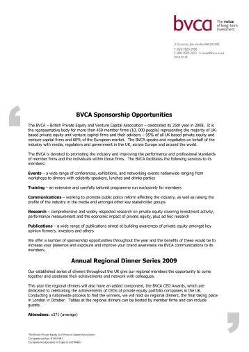 BVCA Regional Dinners media pack - BVCA admin