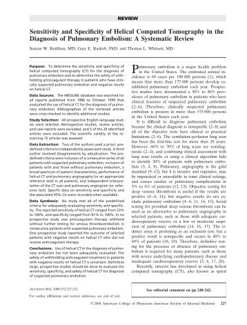 Sensitivity and Specificity of Helical Computed Tomography in the ...