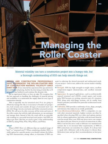 Managing the Roller Coaster - Modern Steel Construction