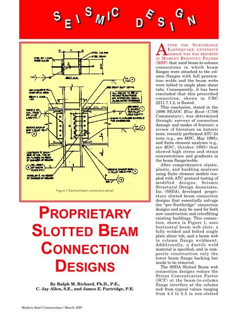 proprietary slotted beam connection designs - Modern Steel