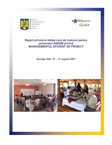 Raport privind al doilea curs de instruire pentru personalul ... - arddzi