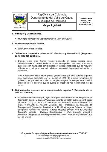 Restrepo - Valle del Cauca - IG - 100 días - 2012 - CDIM - ESAP