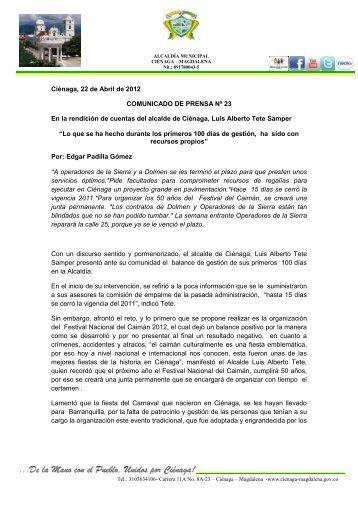 Cienaga - Magdalena - IG - 100 días - CDIM - ESAP