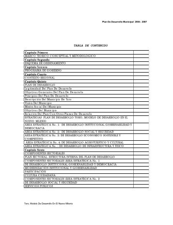 PD_Programa de Desarrollo_Toro_Valle_2004_2007 - CDIM - ESAP