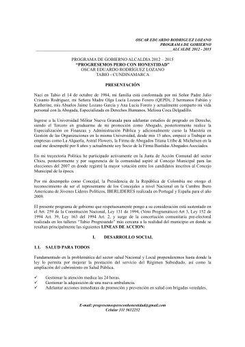 programa de gobierno, oscar rodriguez lozano - CDIM - ESAP