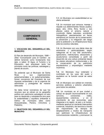 Componente General Plan de Ordenamiento ... - CDIM - ESAP