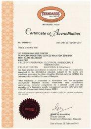Laboratory accreditation certificate for PIDMY - Panasonic