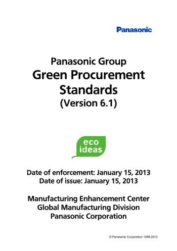 Panasonic Group Green Procurement Standards