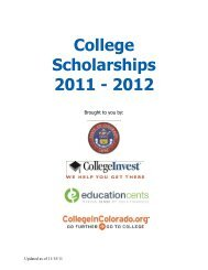 Glen Monroe Youth Scholarships - Colorado: Grand Chapter, OES