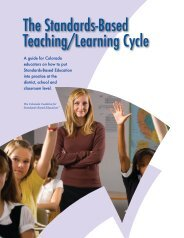 The Standards-Based Teaching/Learning Cycle - Colorado ...