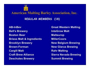 Welcome & Overview - American Malting Barley Association, Inc.