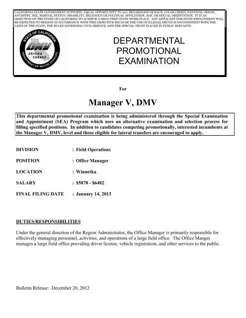 Manager V, DMV, Winnetka ( PDF ) - California Department of Motor