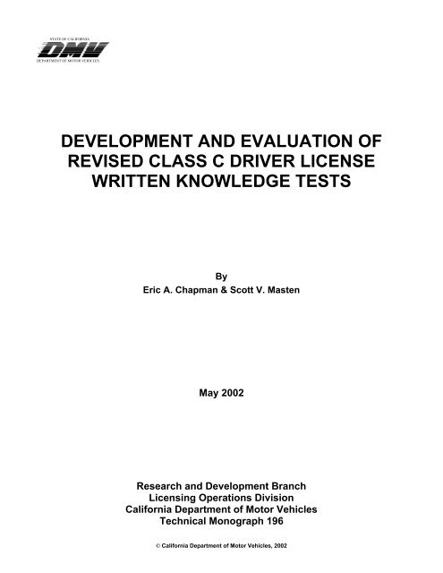 development and evaluation of revised class c driver license