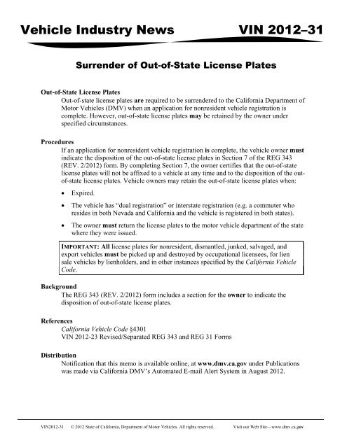 VIN) Memo 2012-31 Surrender of Out-of-State License Plates