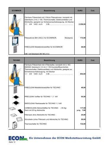 Fahrbare Filtereinheit - ECON Werkzeuge