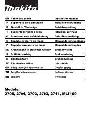 Models: 2705, 2704, 2702, 2703, 2711, MLT100 - Makita