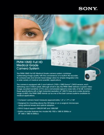 PMW-10MD Full HD Medical Grade Camera System - Sony