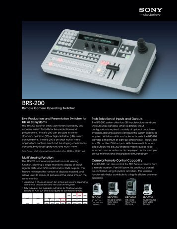 BRS-200 Specification Sheet - Sony