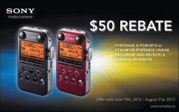 50 rebate - Sony Canada