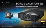 BONUS LAMP OFFER - Sony