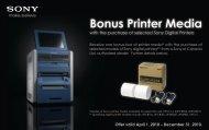 Bonus Printer Media - Sony Canada