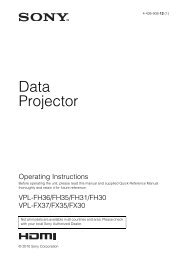 Operating Instructions - Sony