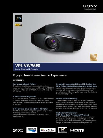 VPL-VW95ES - Sony Professional Solutions Asia Pacific