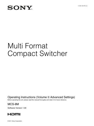 Multi Format Compact Switcher - Sony