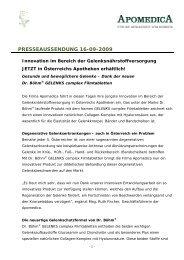 16.09.2009: Innovation im Bereich der ... - Apomedica