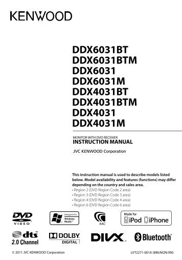 Kenwood DDX4033M Instruction Manual