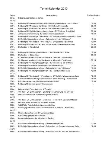Terminkalender 2013 - BV Achtung Wesselburen