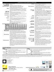Spesifikasjoner for Nikon digitalkamera COOLPIX ... - Nikon Europe