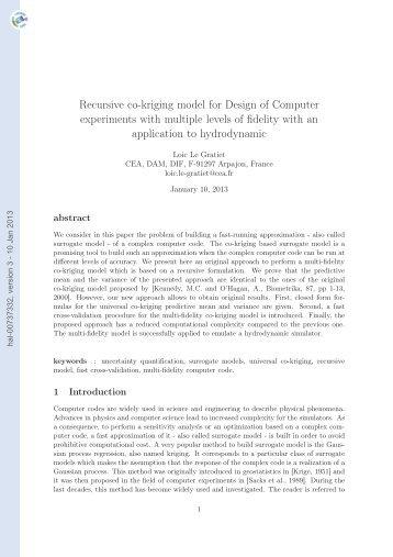 Recursive co-kriging model for Design of Computer experiments ...