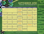 SEPTEMBER 2010 poker tournaments - Seminole Hard Rock Tampa