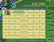 JULY 2010 poker tournaments - Seminole Hard Rock Tampa