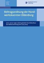 Beitragsordnung der Hand- werkskammer Oldenburg