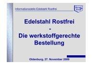 Edelstahl Rostfrei - Die werkstoffgerechte Bestellung