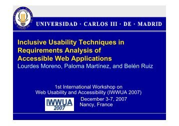 Inclusive Usability Techniques in Requirements Analysis of ... - gplsi