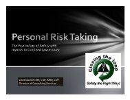 The Psychology of Safety with regards to Confined Space Entry