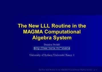 Talk in pdf - Magma