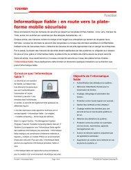 Informatique fiable : en route vers la plate- forme mobile ... - Toshiba