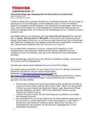 Teilnahmebedingungen Doppelgarantie für Deutschland ... - Toshiba