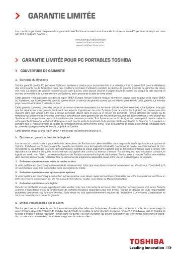GARANTIE LIMITÉE - Toshiba