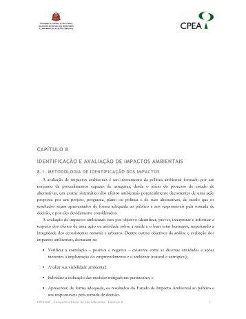 capítulo 8 identificação e avaliação de impactos ambientais