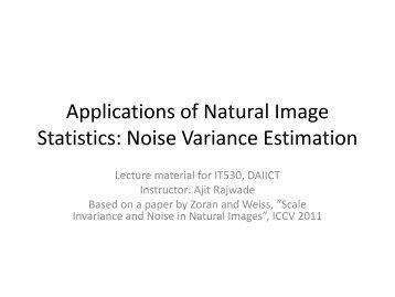 Noise Variance Estimation - DAIICT Intranet